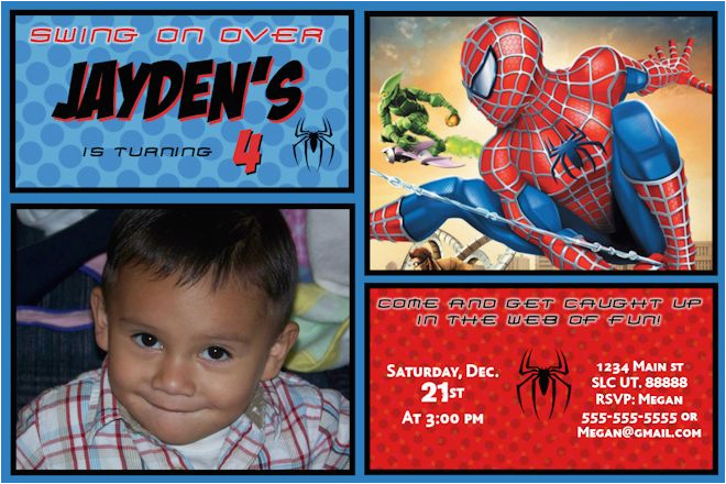 Custom Spiderman Birthday Invitations Comic Book Invite