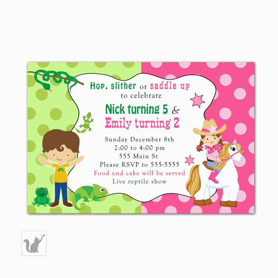 reptile cowgirl birthday invitation printable personalized kids customised birthday invitation cards