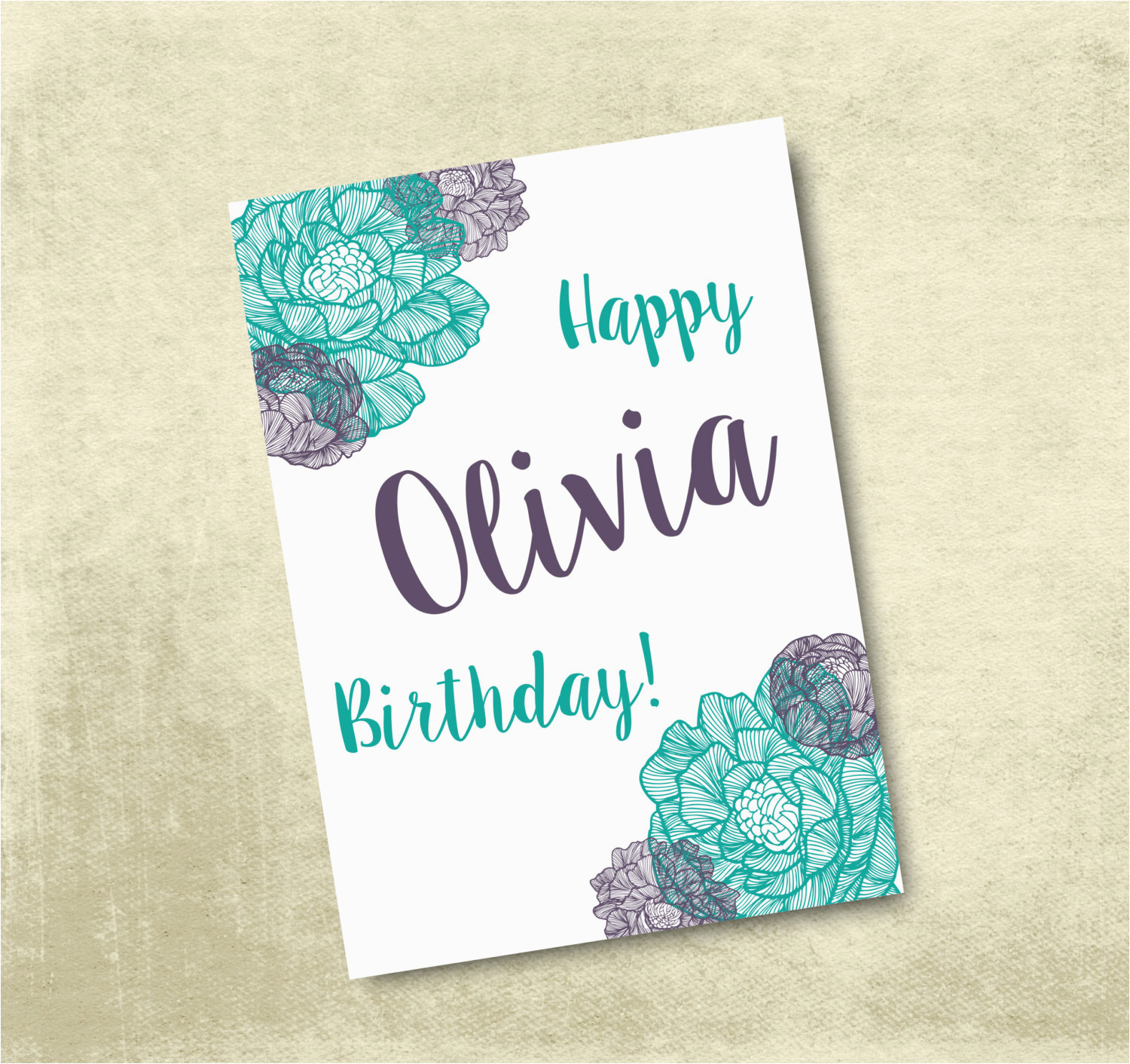 Customizable Printable Birthday Cards Personalized Printable Birthday Card 5×7 by
