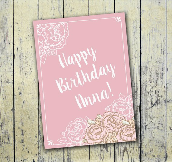 Personalized Printable Birthday Card 5x7