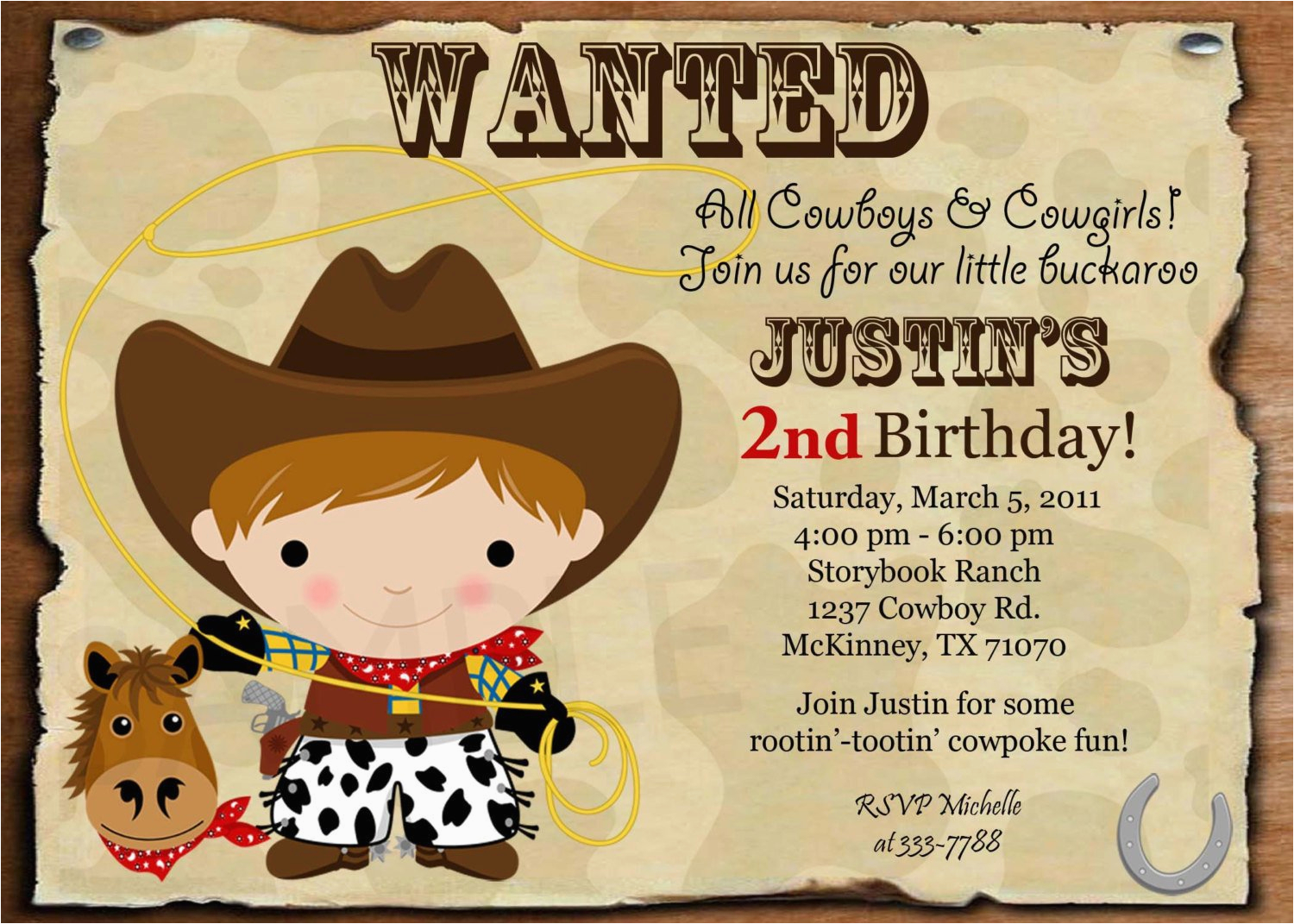 Custom Personalized Cowboy Or Cowgirl Wanted By Theprintfairy Invitation