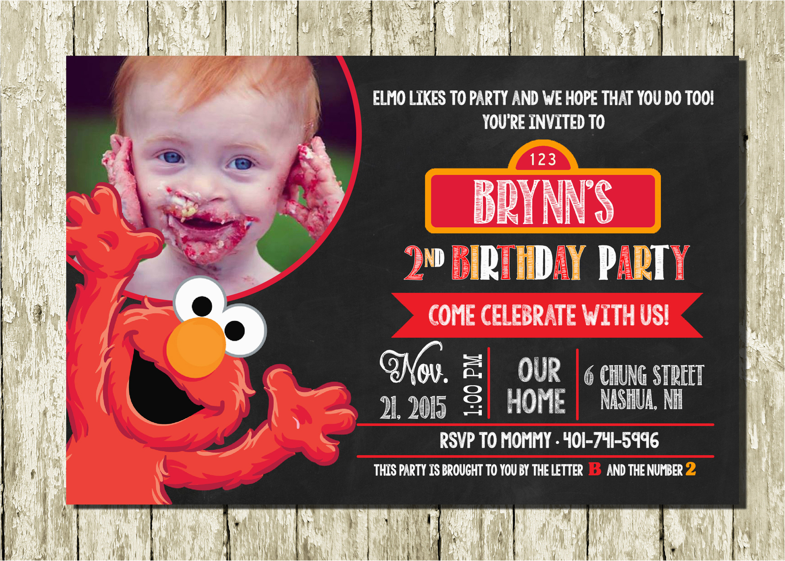 Customized Birthday Invitations Online Elmo Personalized Digital Printable Photo Chalkboard