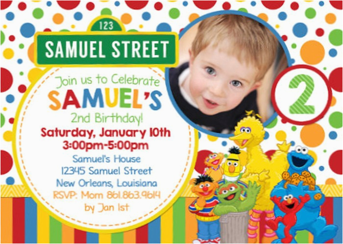 Customized Birthday Invitations Online Personalized Sesame Street Invitation Sample