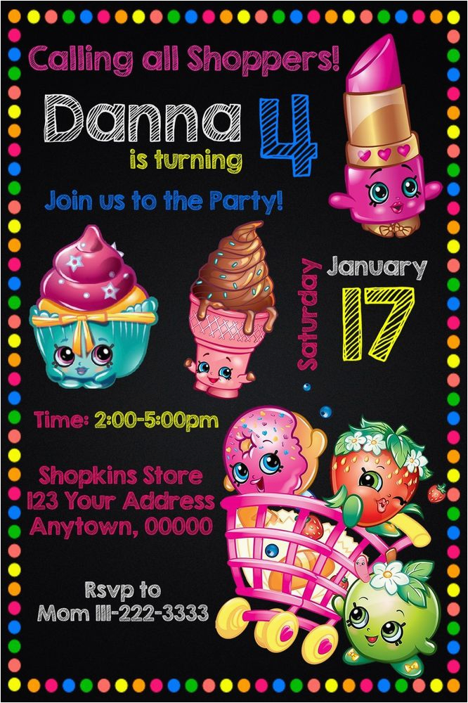 Customized Birthday Invitations Online Shopkins Party Personalized Custom