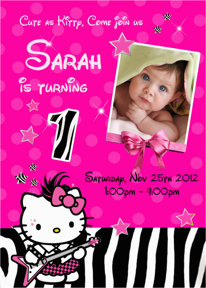 Customized Birthday Invites Hello Kitty Zebra Personalized Invitation Photo