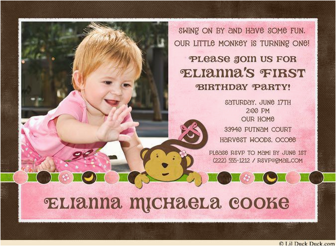 Cute 1st Birthday Invitation Wording Invitations For First