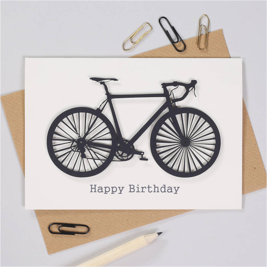 Cycling themed Birthday Cards Personalised Cyclists Papercut Bicycle Birthday Card by