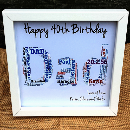 Dad 40th Birthday Ideas Happy Frame Personalised Handmade Gifts