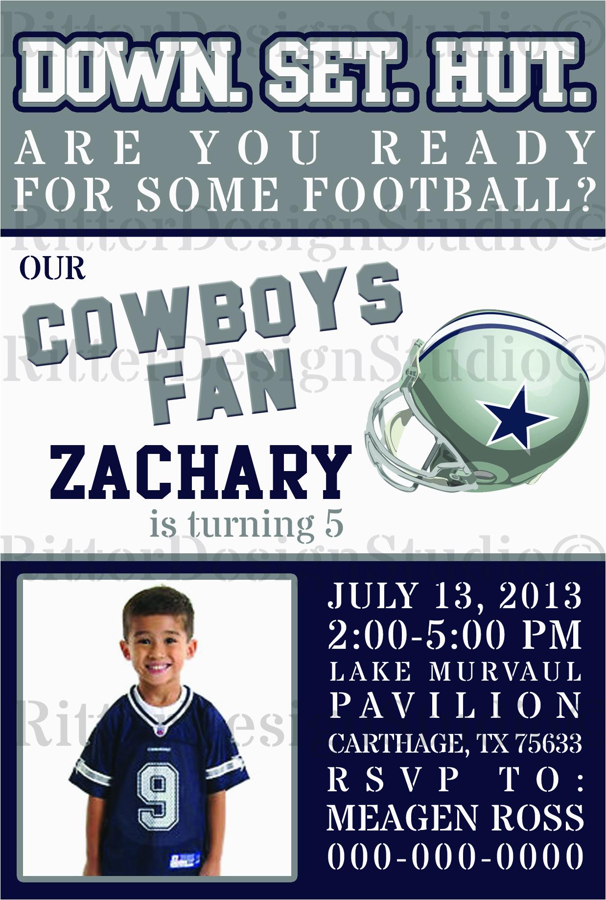 2765712 dallas cowboys football birthday invitation digital file printable