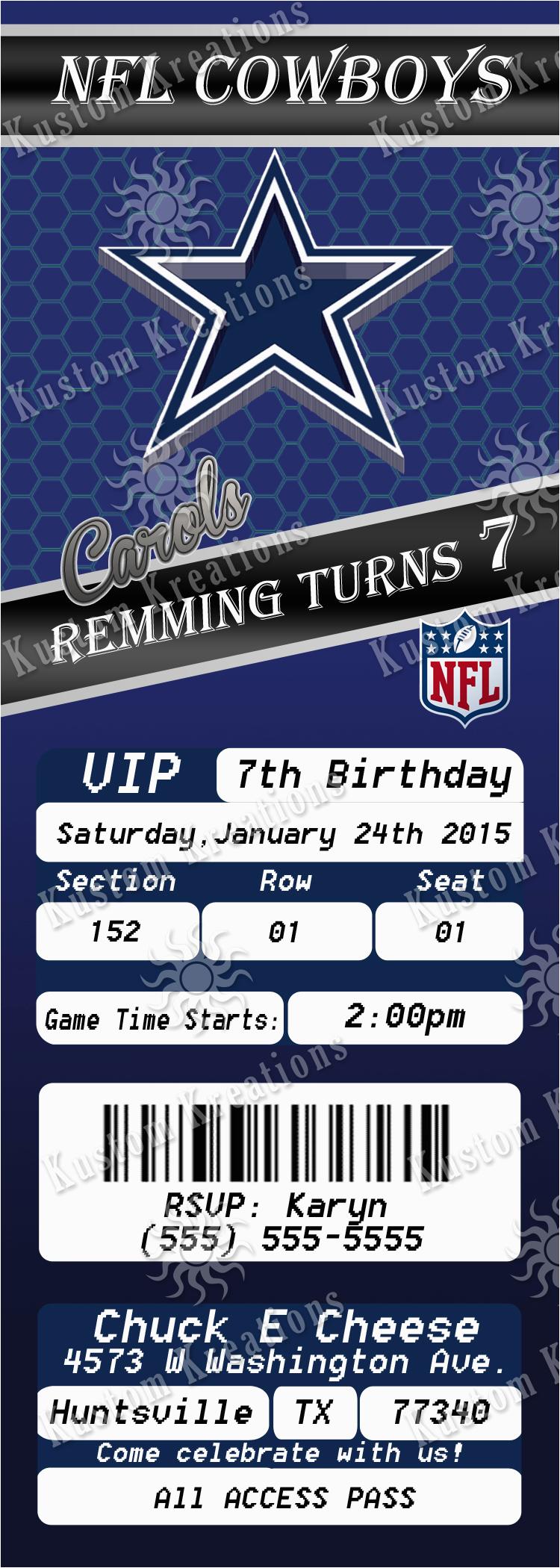 Dallas Cowboys Birthday Party Invitations Nfl Dallas Cowboys