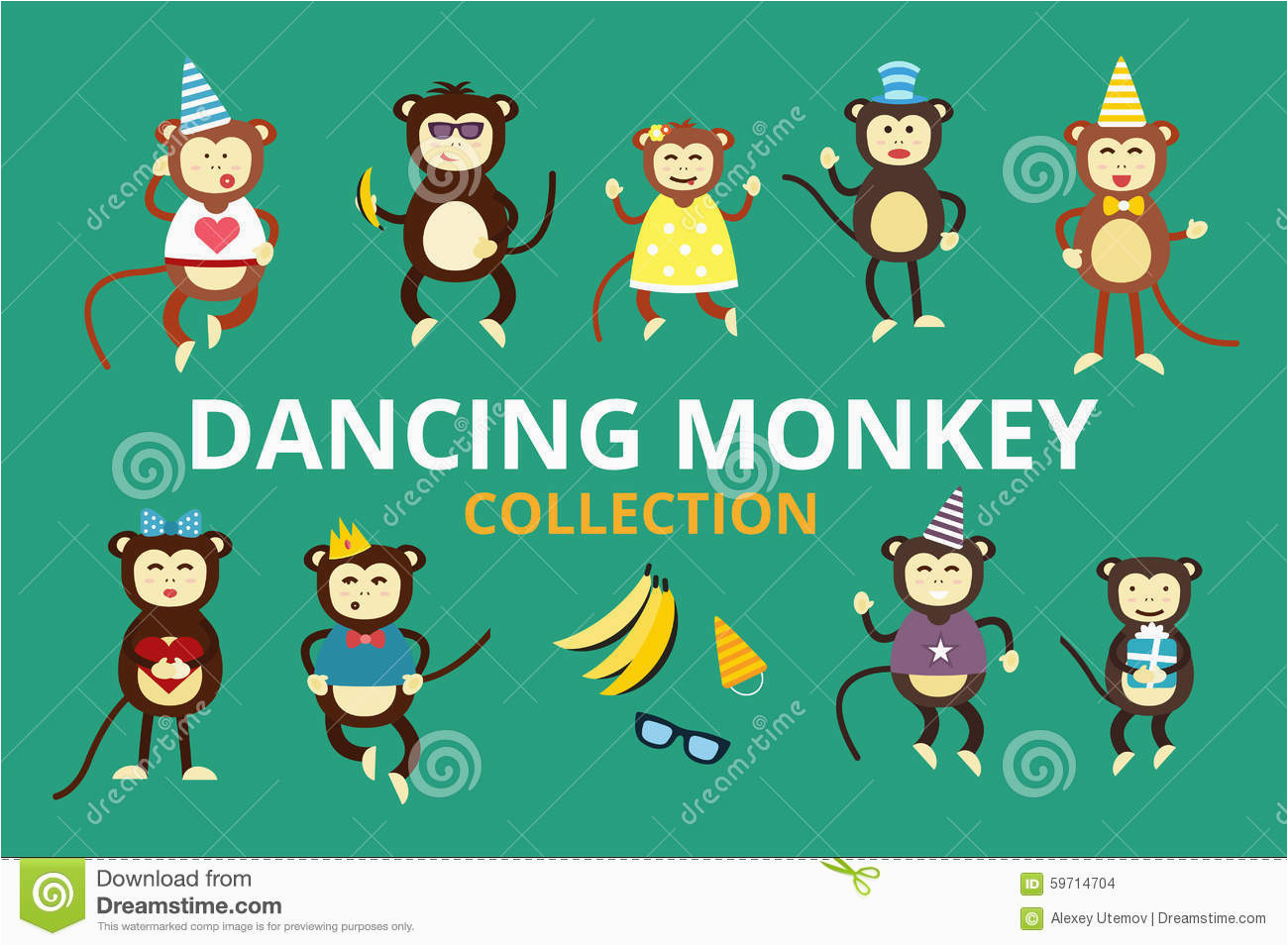 stock illustration happy cartoon vector monkey dancing party birthday background dance face hats banana jump image59714704