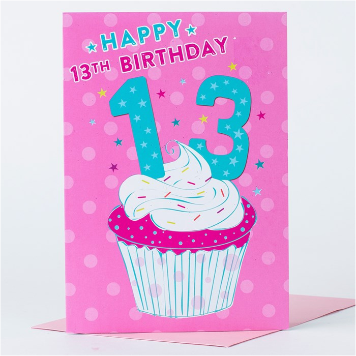 Daughter 13th Birthday Card Happy Cupcake Only 29p