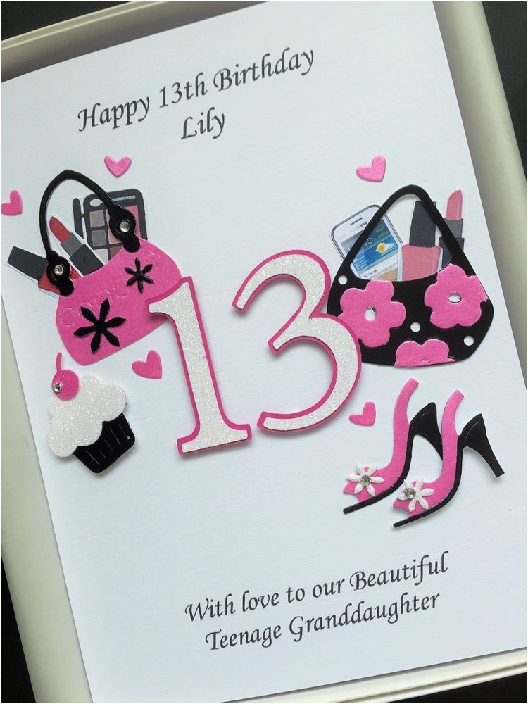 Daughter 13th Birthday Card Personalised Teenager Niece