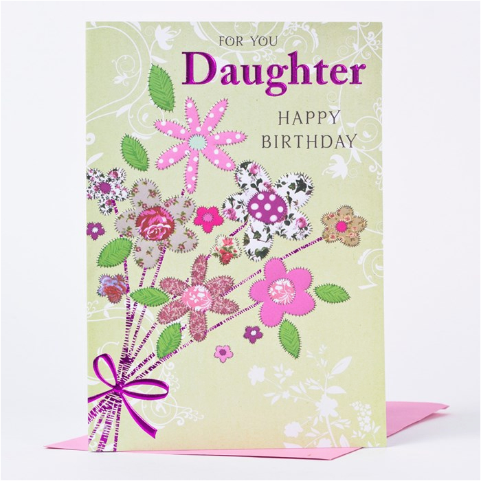 birthday card daughter patterned flowers only 99p
