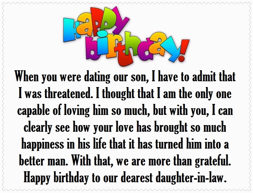 Daughter In Law Birthday Cards Verses Happy Quotes And Greetings