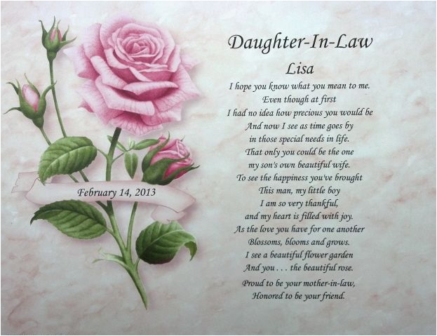 Daughter In Law Birthday Cards Verses Personalized Poem Ideal Present