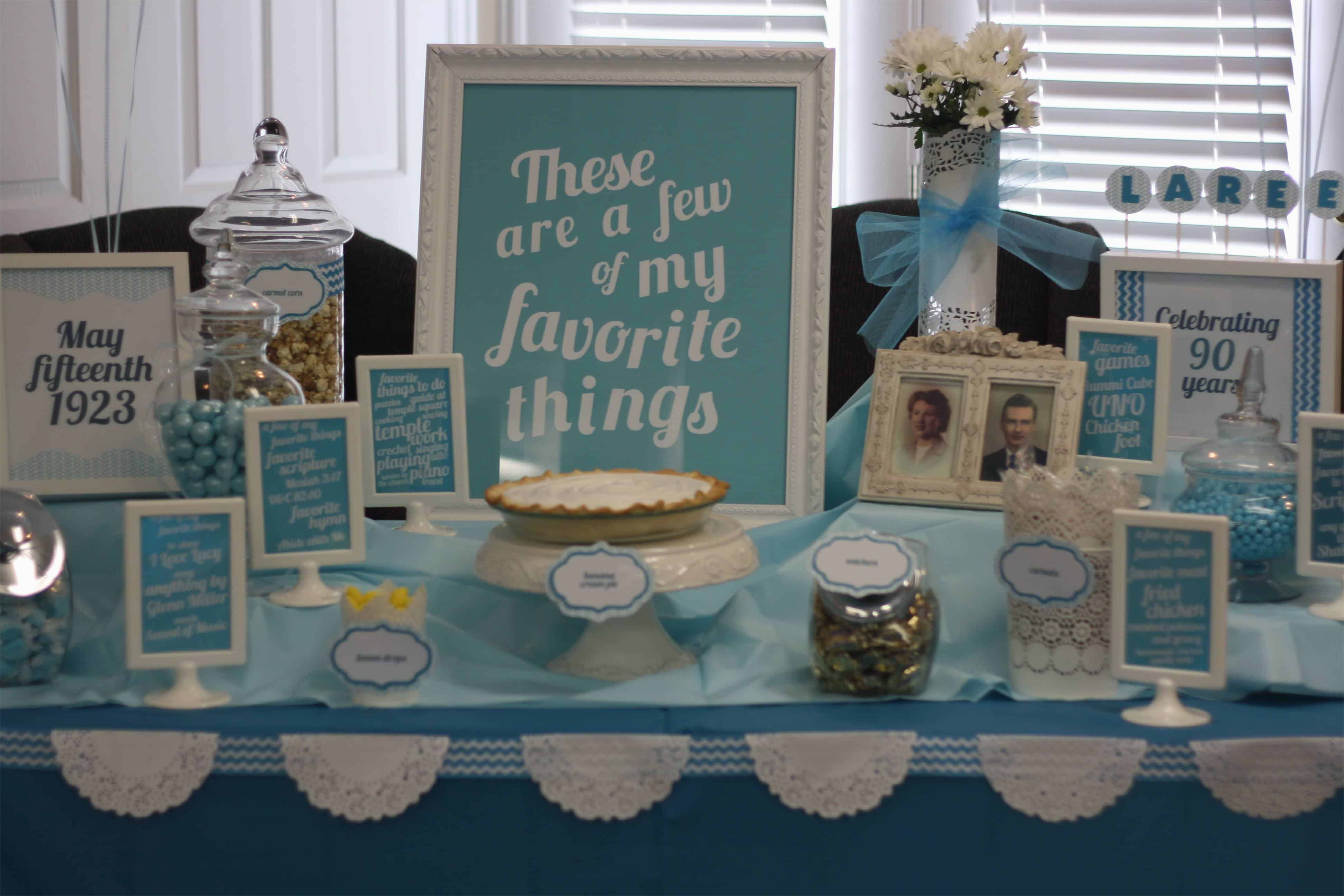 Decoration Ideas For 90th Birthday Party My Favorite Things Theme