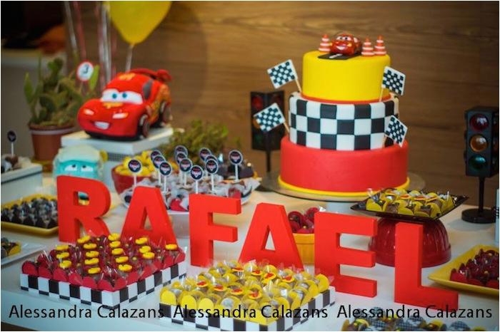 lightning mcqueen cars themed birthday party