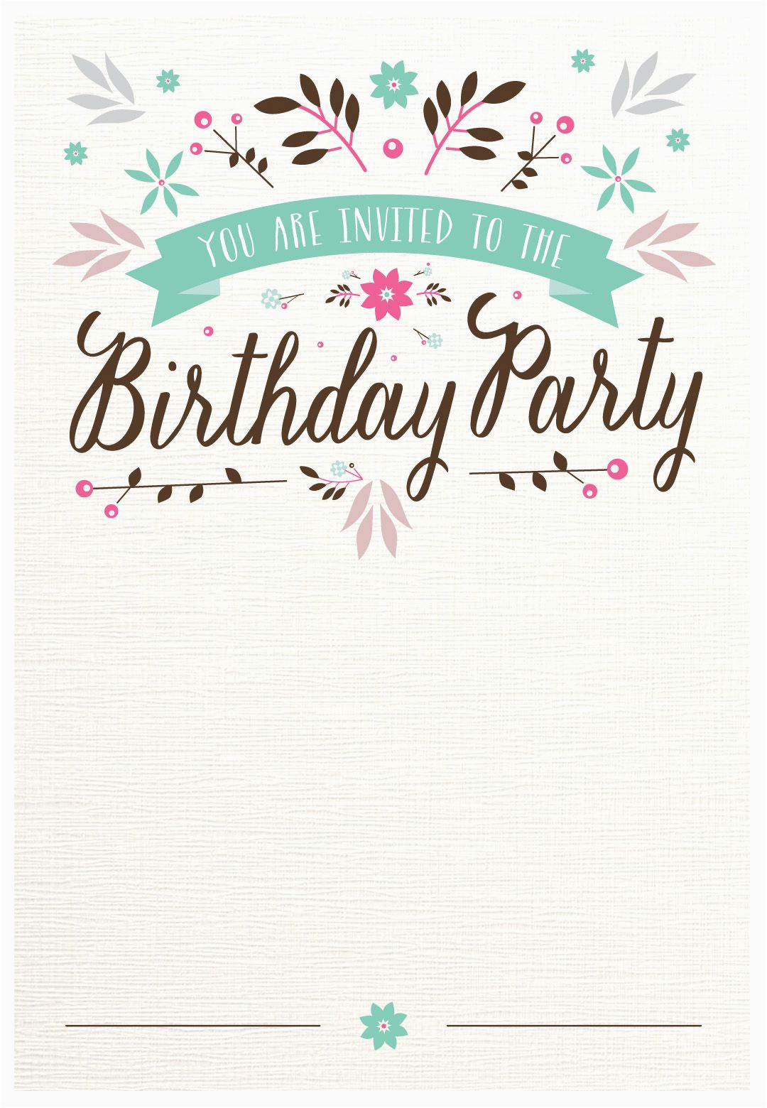 Design Birthday Invitations Online To Print Flat Floral Free Printable Invitation Template