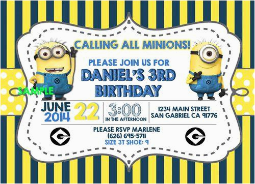 despicable me birthday party invitations