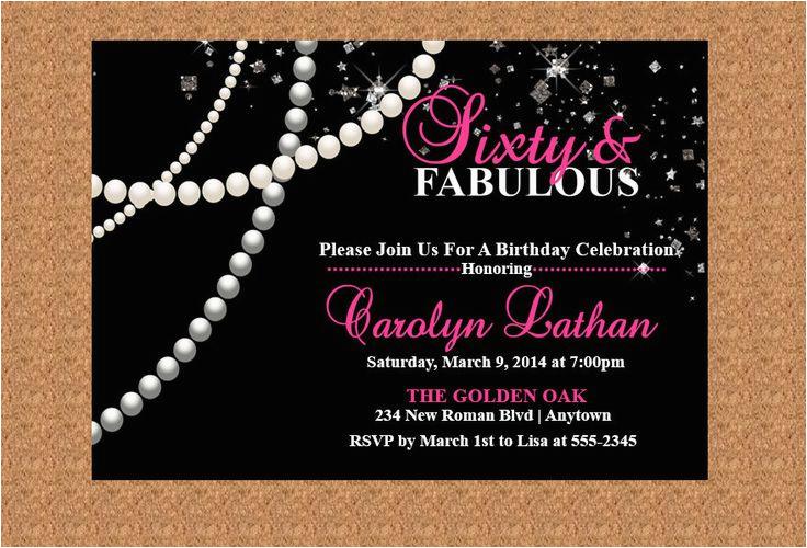 Diamonds and Pearls Birthday Invitations 60th Birthday Invitation Milestone Birthday Invitation