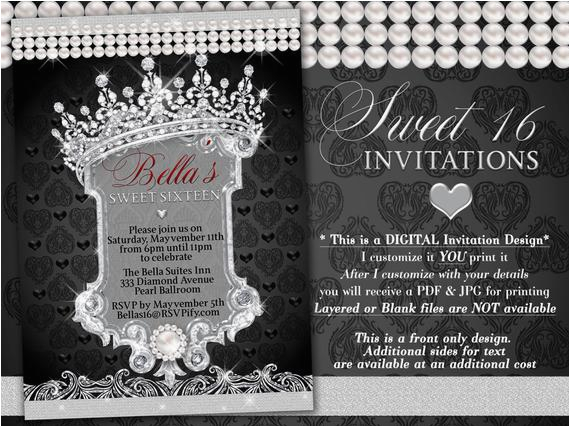 Diamonds and Pearls Birthday Invitations Diamond and Pearl Invitation Sweet 16 Invitation