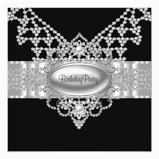Diamonds and Pearls Birthday Invitations Diamonds Pearls Black Birthday Party Invitations Zazzle Com