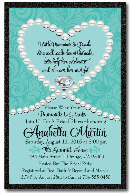 Diamonds and Pearls Birthday Invitations Diamonds Pearls Bridal Shower Invitation Di 1508