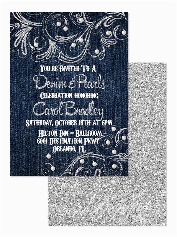 Diamonds and Pearls Birthday Invitations Eccentric Designs by Latisha Horton New Denim Diamond