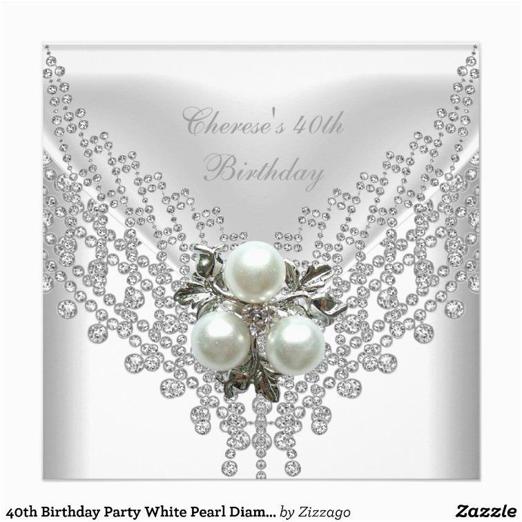 Diamonds and Pearls Birthday Invitations Party White Pearl Diamond Jewel Custom Invitation
