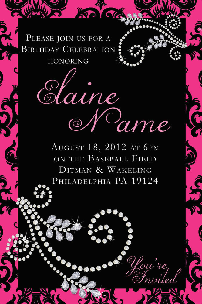 Diamonds and Pearls Birthday Invitations Personalized Damask Pink Diamond Pearl Birthday Invite Ebay