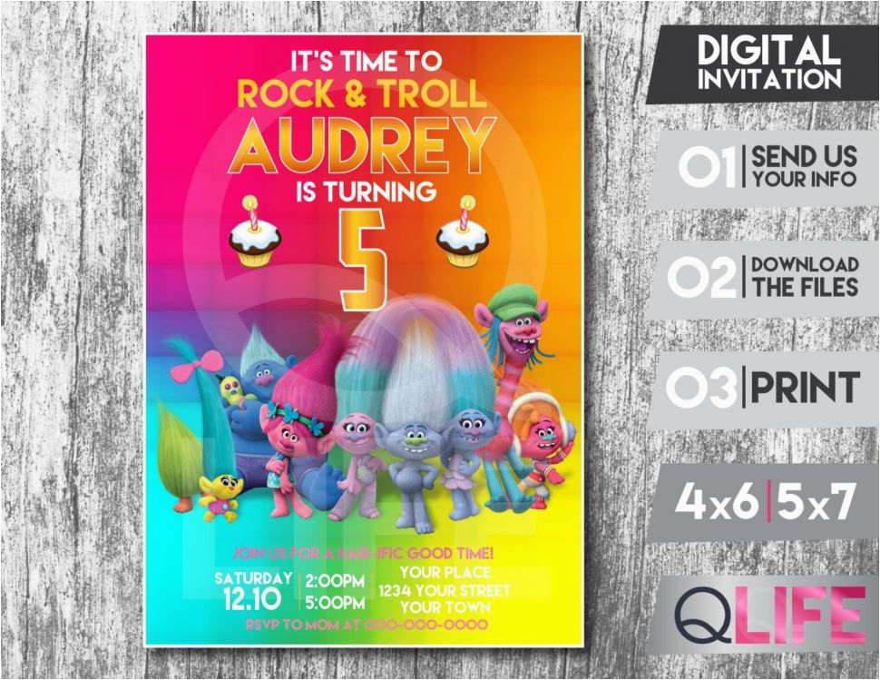 Digital Invitation Card For Birthday Etsy Product Troll Party Ideas