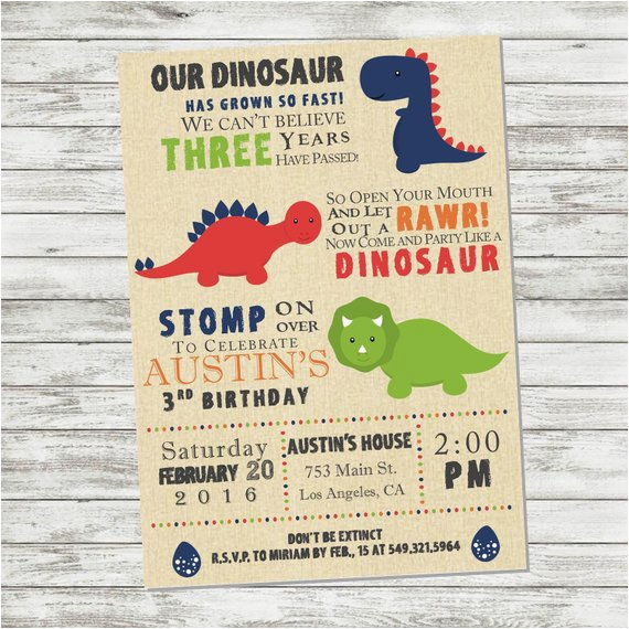 Dinosaur Birthday Invitation Wording