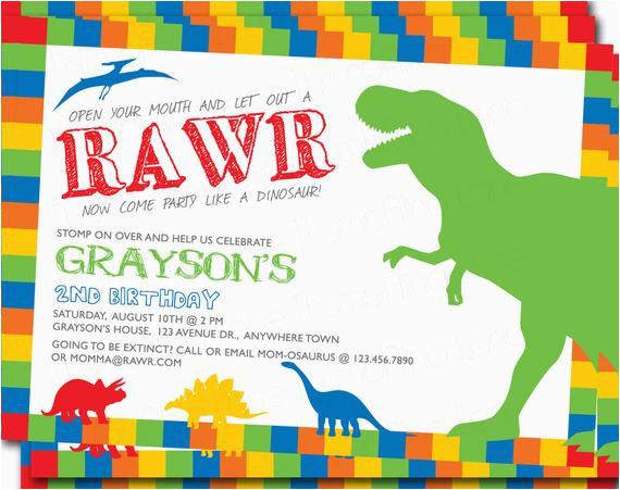 Dinosaur Printable Invitation Birthday