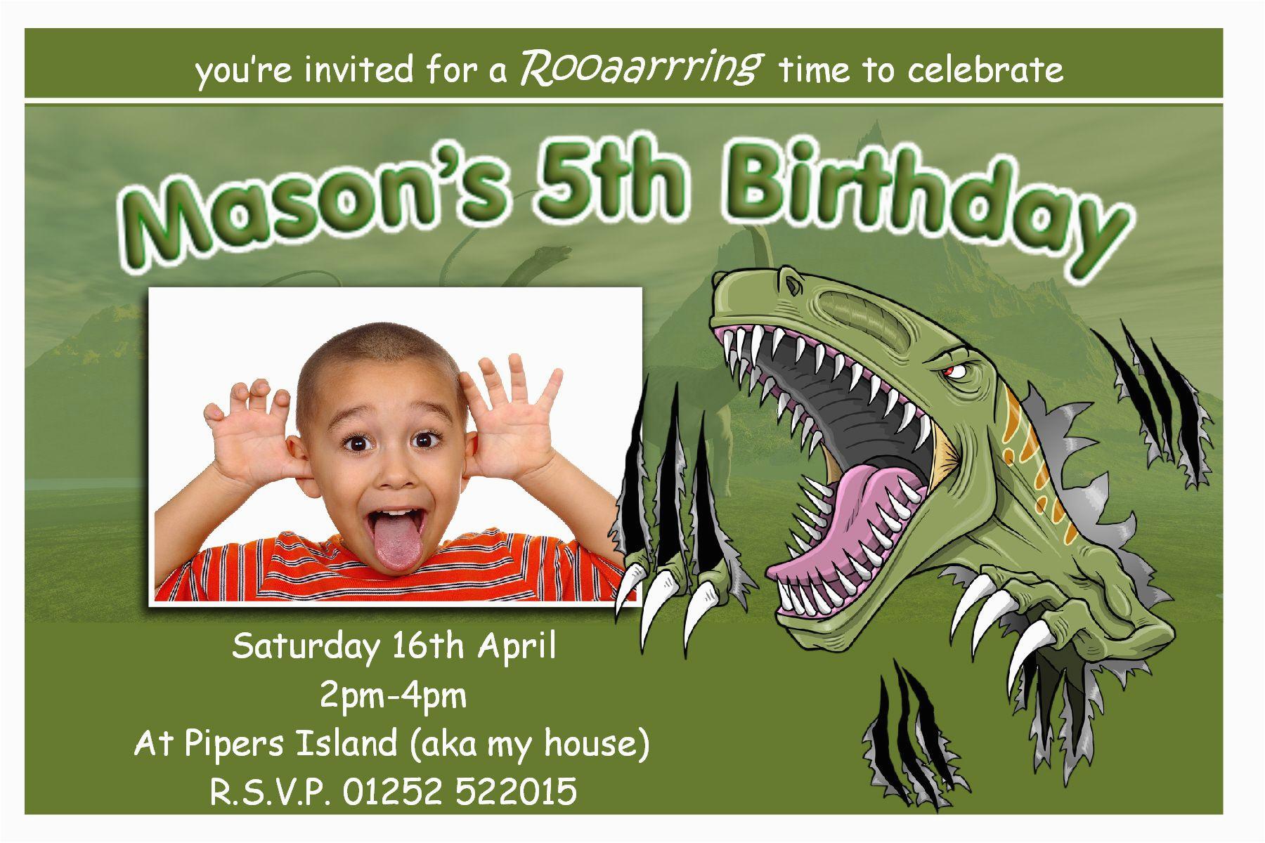 Dinosaur Birthday Invitations With Photo T Rex Party Bagvania Free