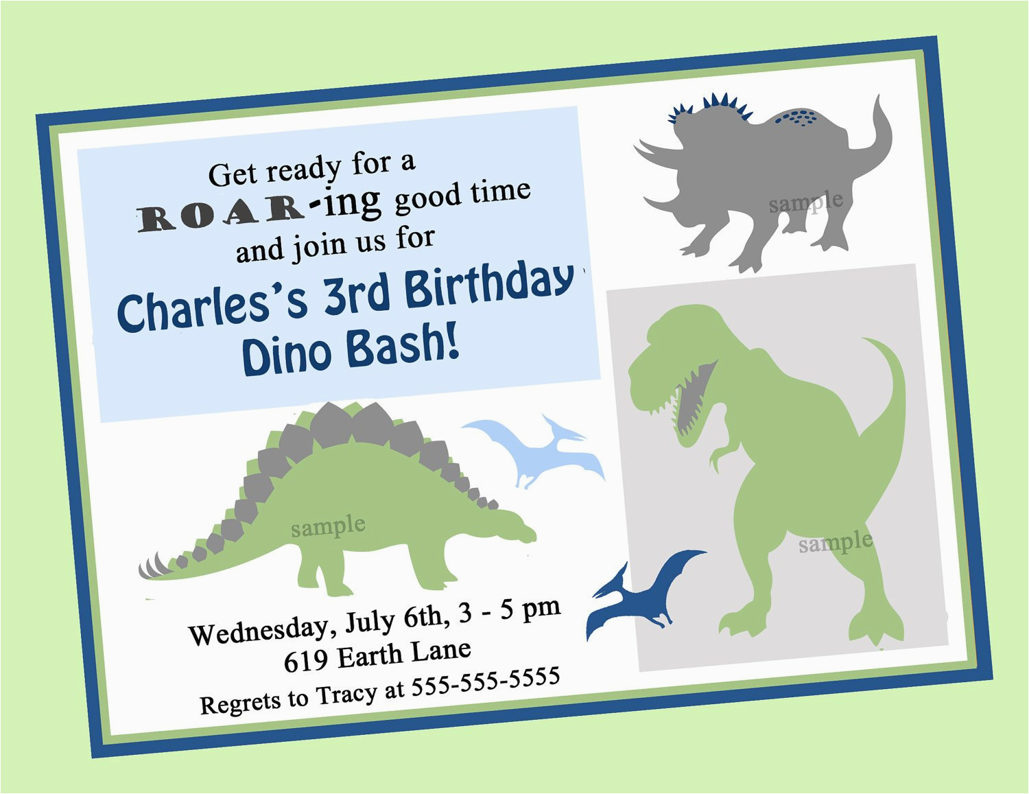 Dinosaur Birthday Party Invitation Wording Printable Or Printed With Free