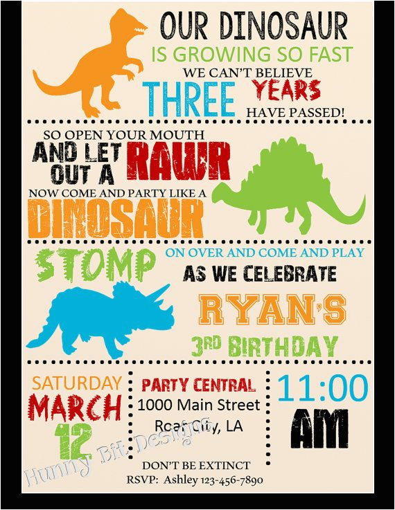 Dinosaur Birthday Party Invitation Wording Rawr Boy By Hunnybitdesigns