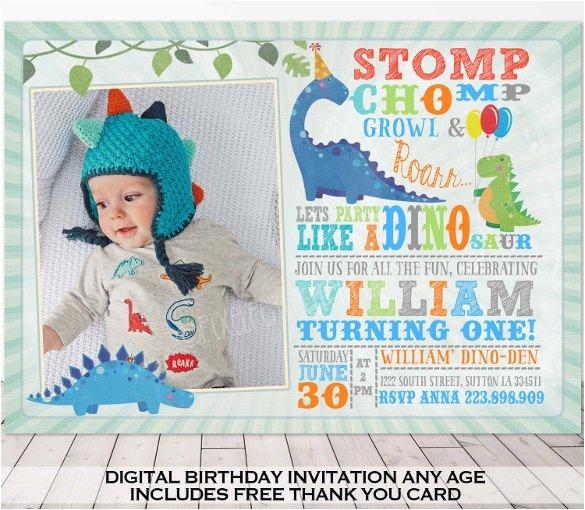 Dinosaur First Birthday Invitations 28 Dinosaur Birthday Invitation Designs Templates Psd