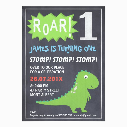 Dinosaur First Birthday Invitations Boys Chalkboard 1st Invitation Zazzle