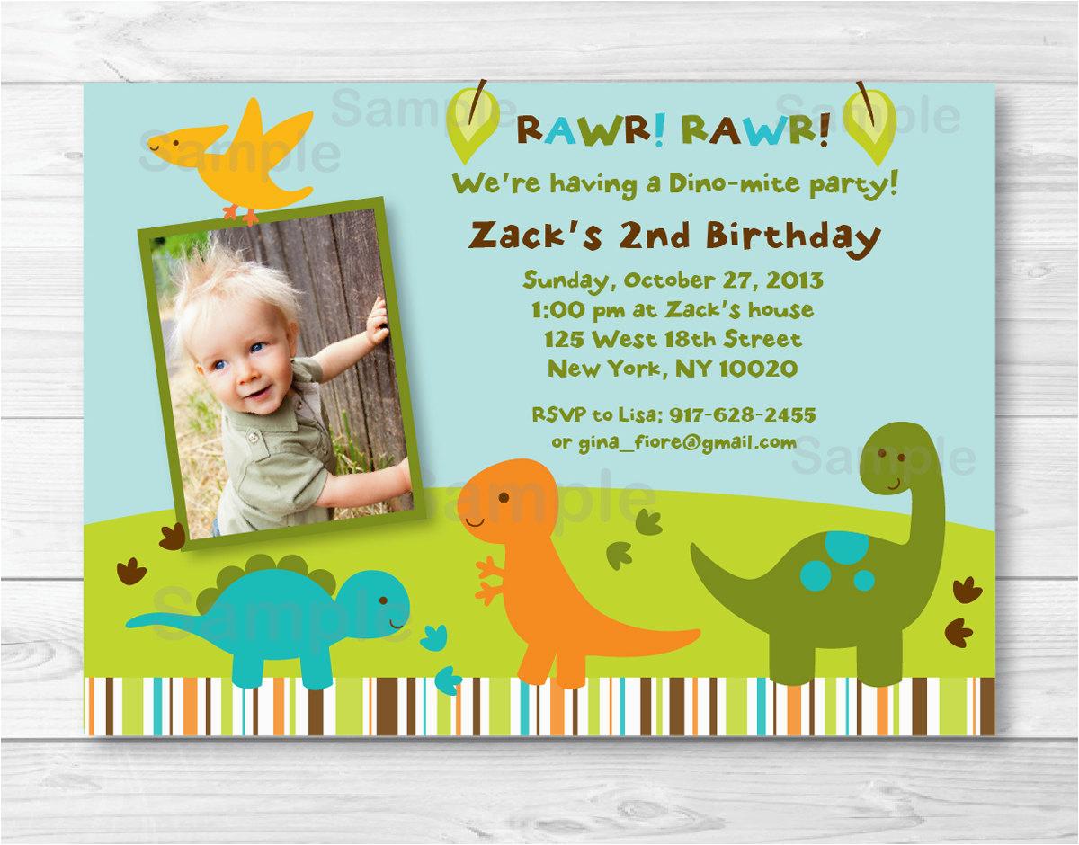 Dinosaur First Birthday Invitations Invitation Boy 1st