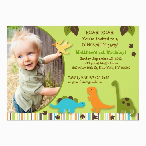 Dinosaur Photo Birthday Invitations Personalized Baby