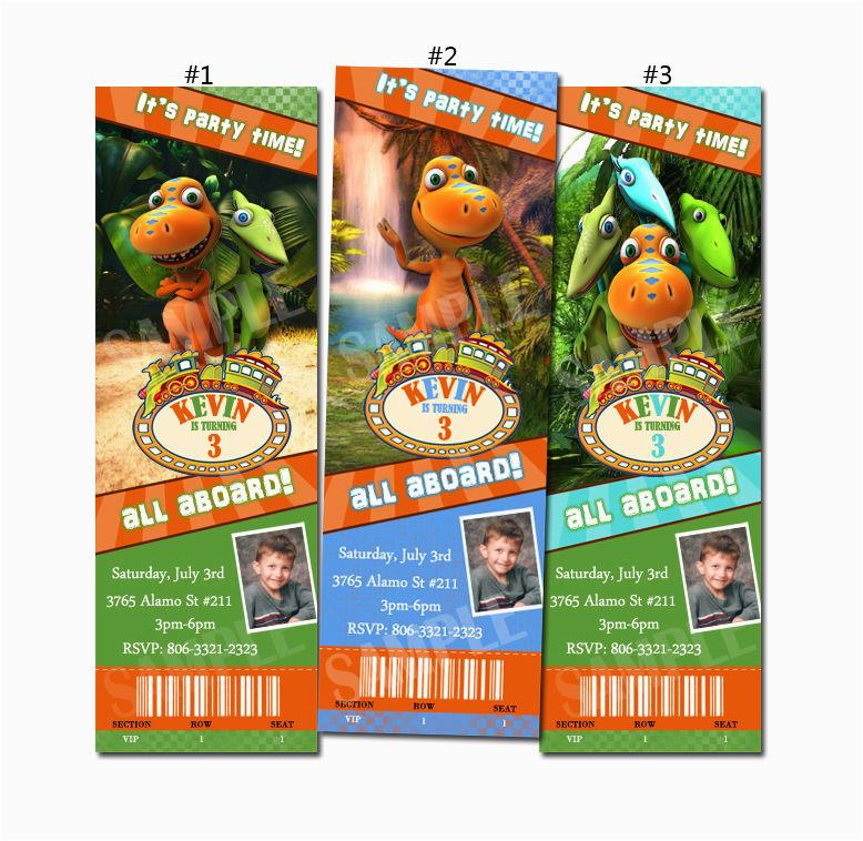 Dinosaur Train Birthday Invitations Free Custom Party Invitation Ticket Ebay