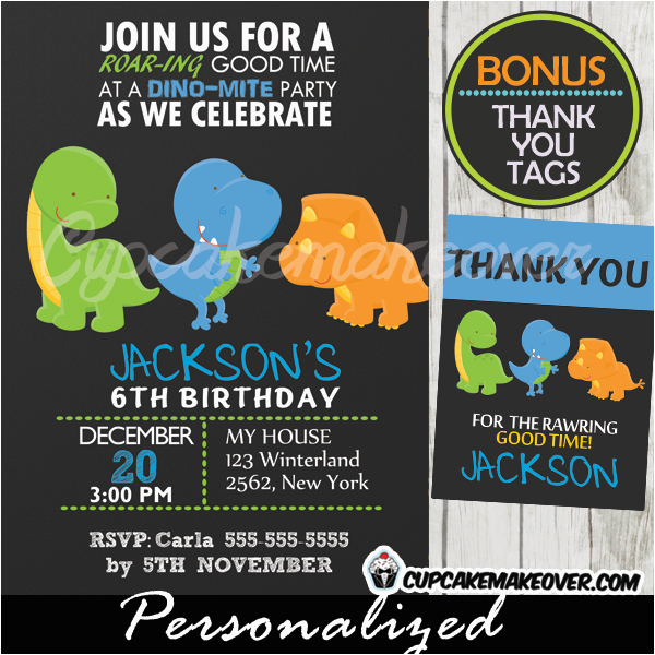 Dinosaurs Invitation For Birthday T Rex Dinosaur Invitations Chalkboard