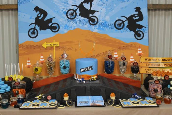dirt bike themed 5th birthday party