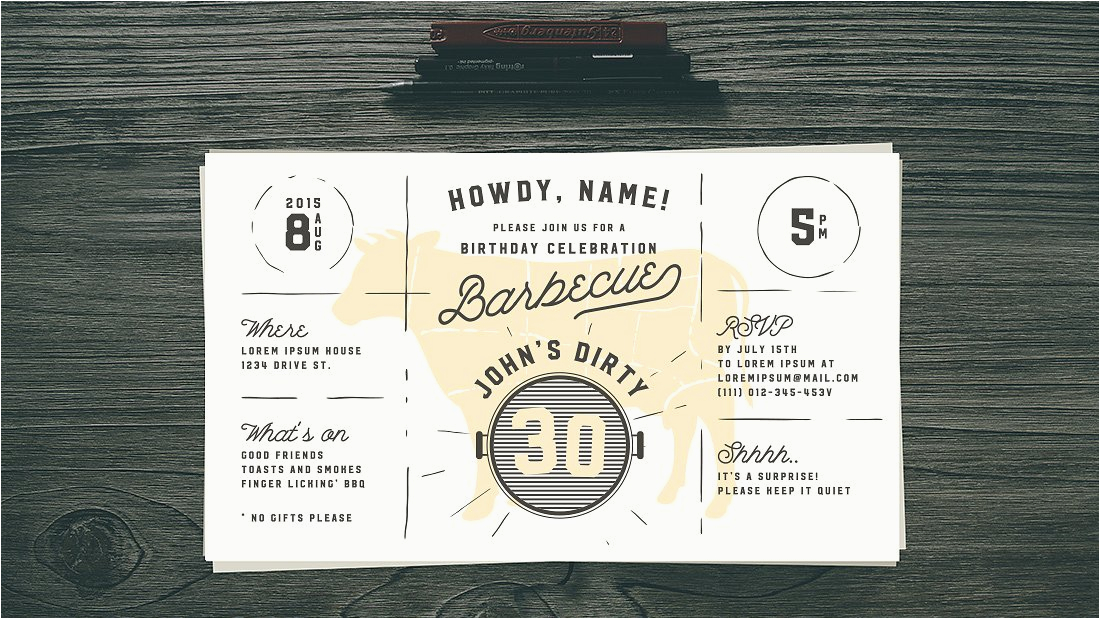 394551 dirty 30 birthday bbq invitation