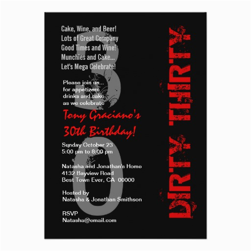 dirty thirty birthday black white red template card 161164831063753846
