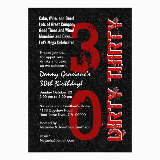 dirty thirty birthday black white red template g20 invitation 161087519036965438