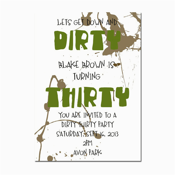 Dirty 30 Birthday Invitations Happy Quotes Quotesgram