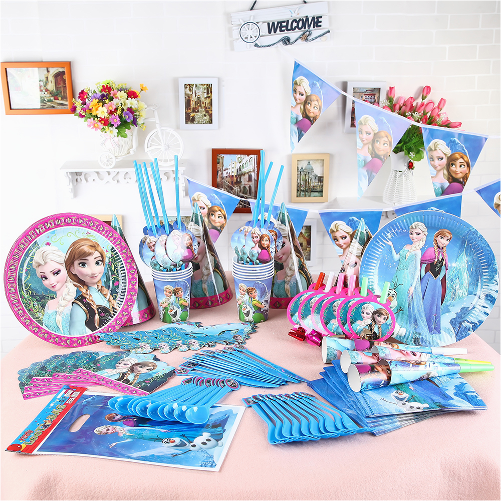 Discount Birthday Decorations Aliexpress Com Buy 126pcs Lot Wholesale Elsa Anna Theme