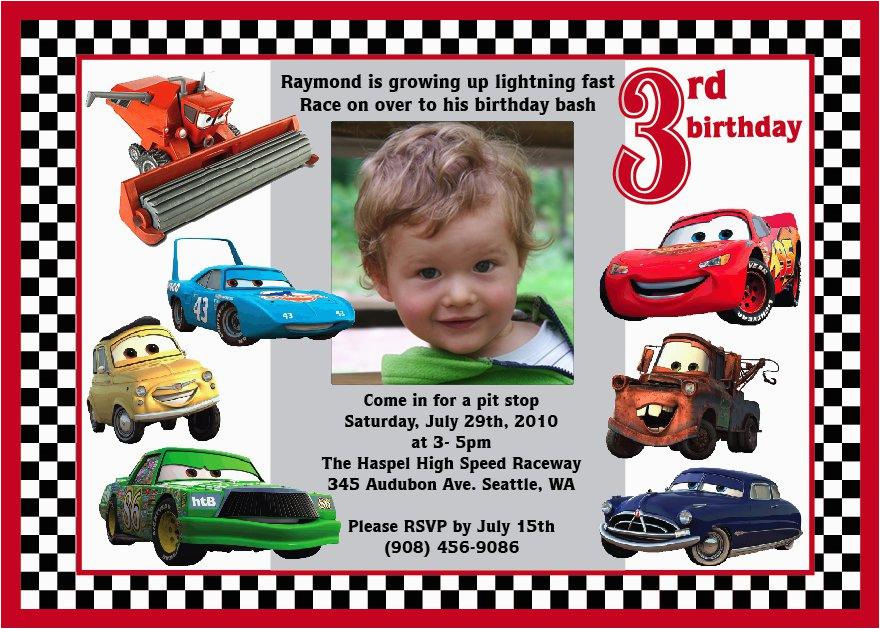 Disney Cars Personalized Birthday Invitations Lightning Mcqueen Custom Invitation